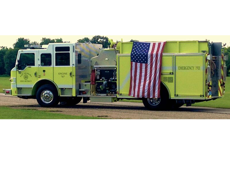 Fire Truck with Flag